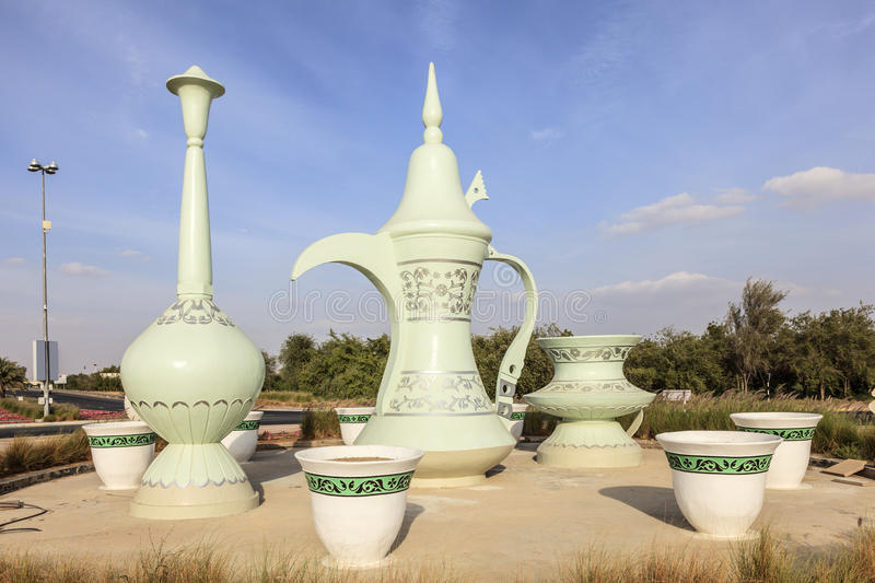 Coffeepot roundabout in Al Ain, UAE stock photos