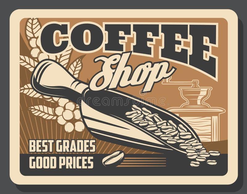 Coffeeshop-Cafeteria, Kaffeebrauenschleifermühle lizenzfreie abbildung