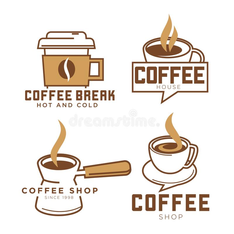 Coffeeshop coffee cup vector icons templates set for cafe or coffeehouse. Coffee cup logo templates set for coffeeshop or cafeteria and cafe design. Vector icons royalty free illustration