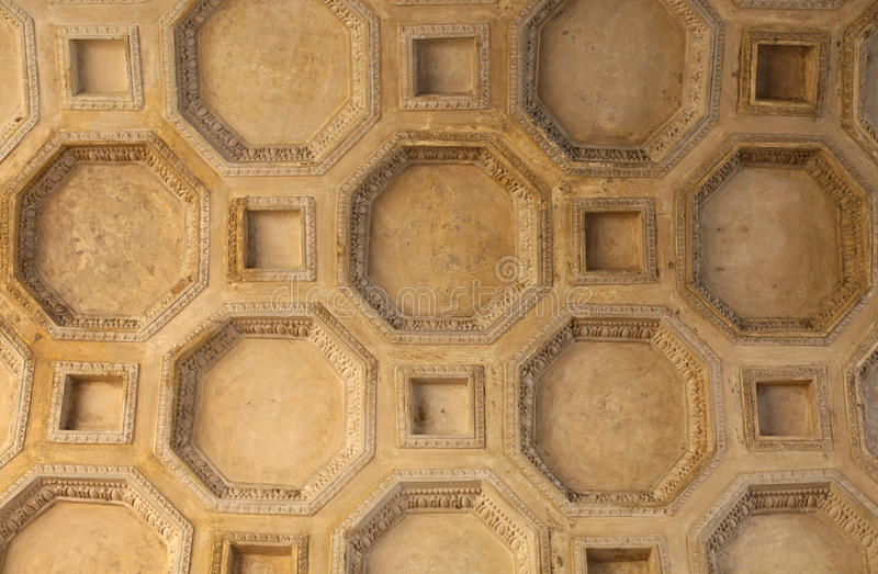 Coffered ceiling. Located in Palazzo del Te, Mantuan stock photos