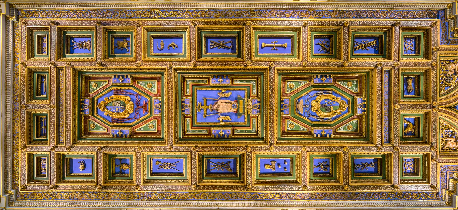 Coffered vault in the Church of San Girolamo della Carità in Rome, Italy. San Girolamo della Carità is a church in Rome, Italy, located near the Palazzo stock images