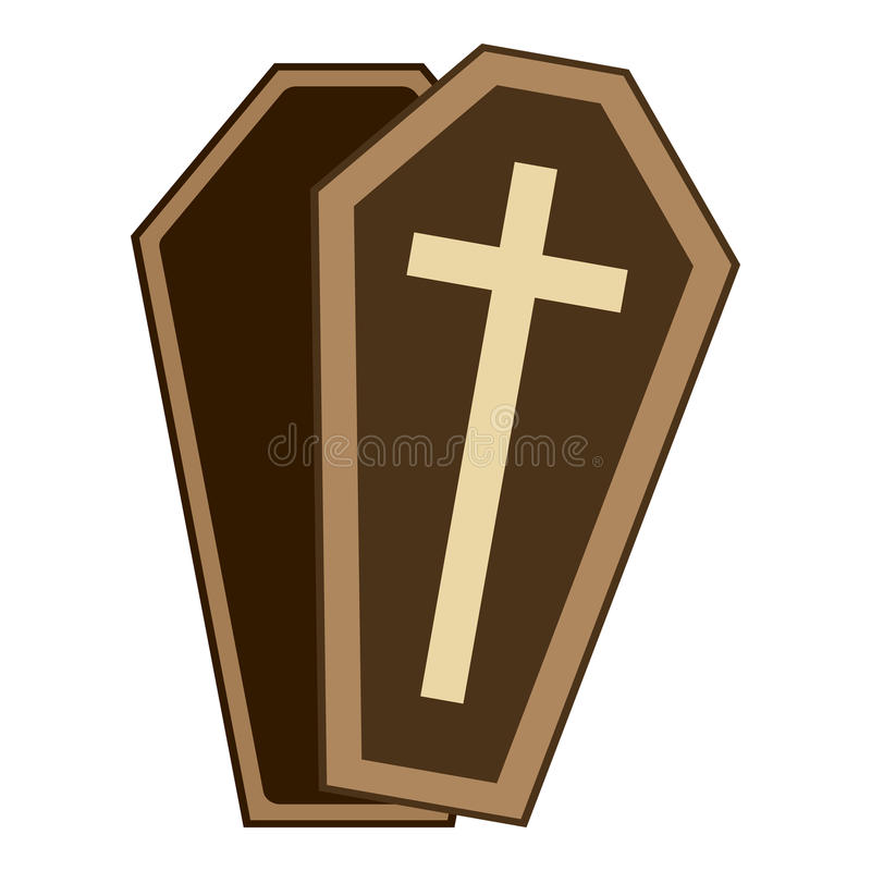 Coffin or Casket Flat Icon Isolated on White stock illustration