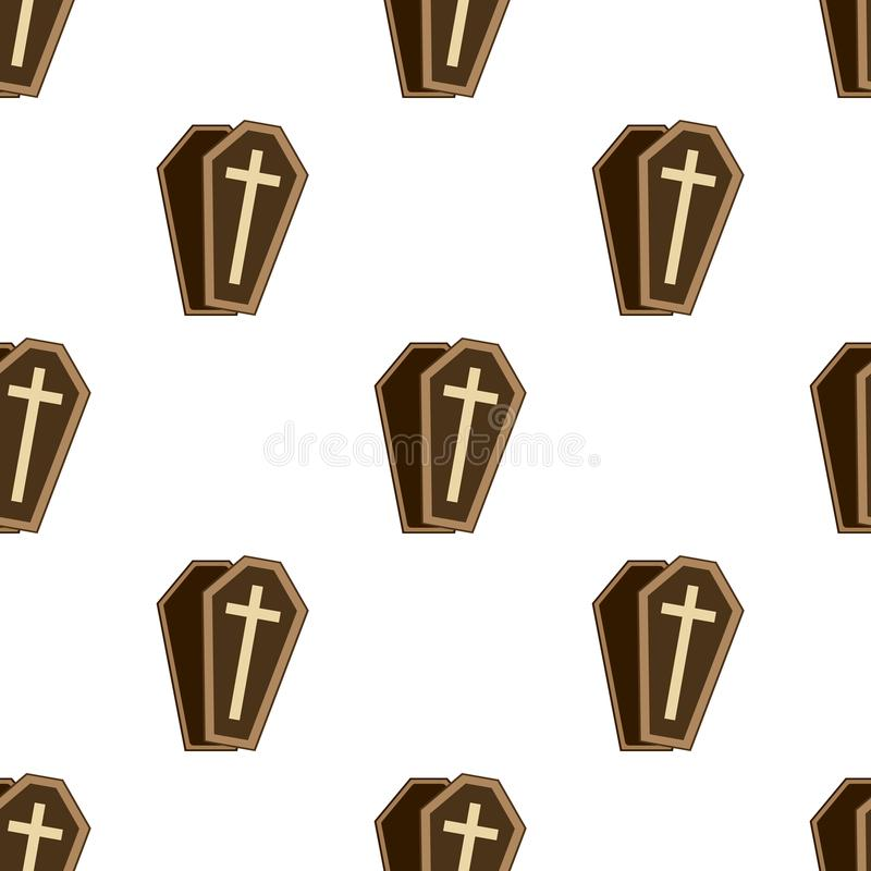 Coffin or Casket Flat Icon Seamless Pattern royalty free illustration