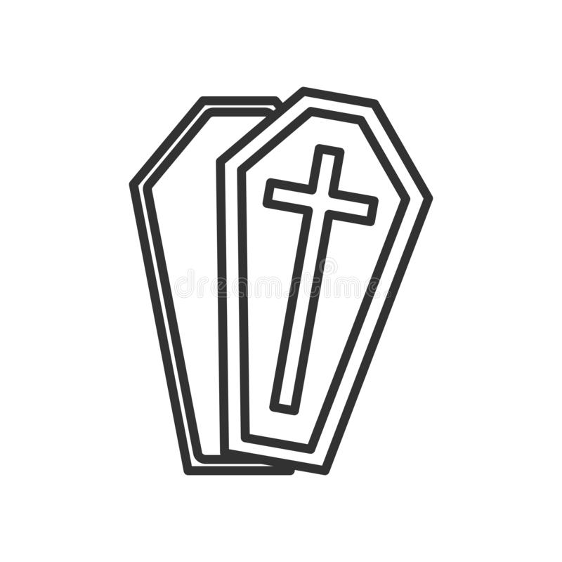 Coffin or Casket Outline Flat Icon on White stock illustration