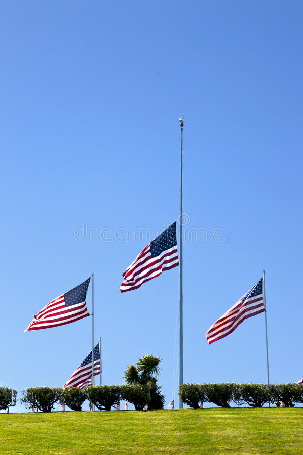 Coffin Flags at Half Mast stock photography