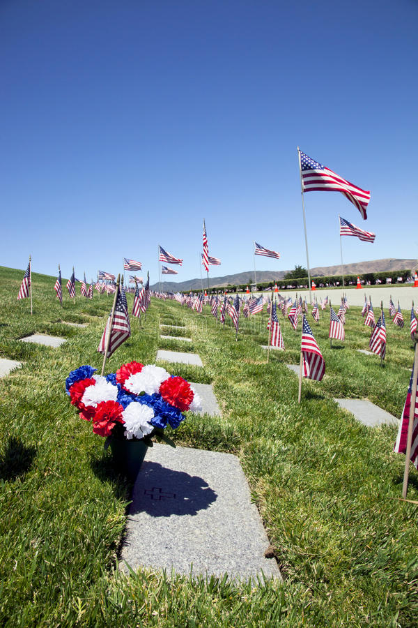 Coffin Flags at National Cemetery stock photography