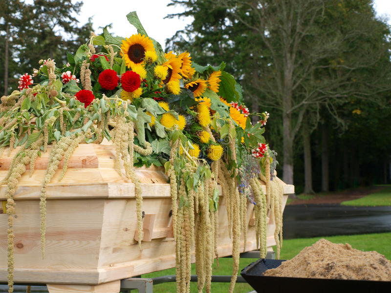 Coffin with flowers royalty free stock photo
