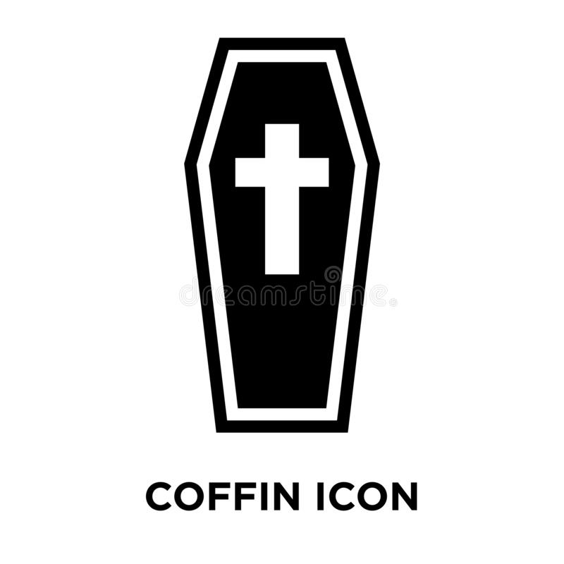 Coffin icon vector isolated on white background, logo concept of stock illustration
