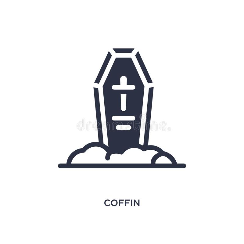 coffin icon on white background. Simple element illustration from wild west concept stock illustration