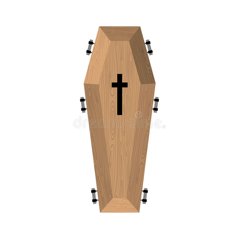Coffin isolated. Wooden casket on white background. Religion obj stock illustration