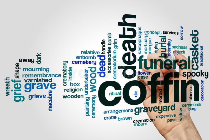 Coffin word cloud royalty free stock photo