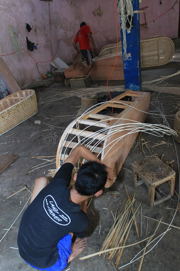 Coffins. Craftsmen were making coffins of rattan, in Sukoharjo, Central Java, Indonesia stock photography