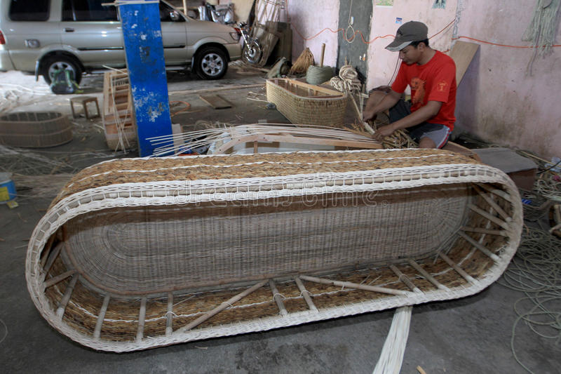 Coffins. Craftsmen were making coffins of rattan, in Sukoharjo, Central Java, Indonesia royalty free stock photos