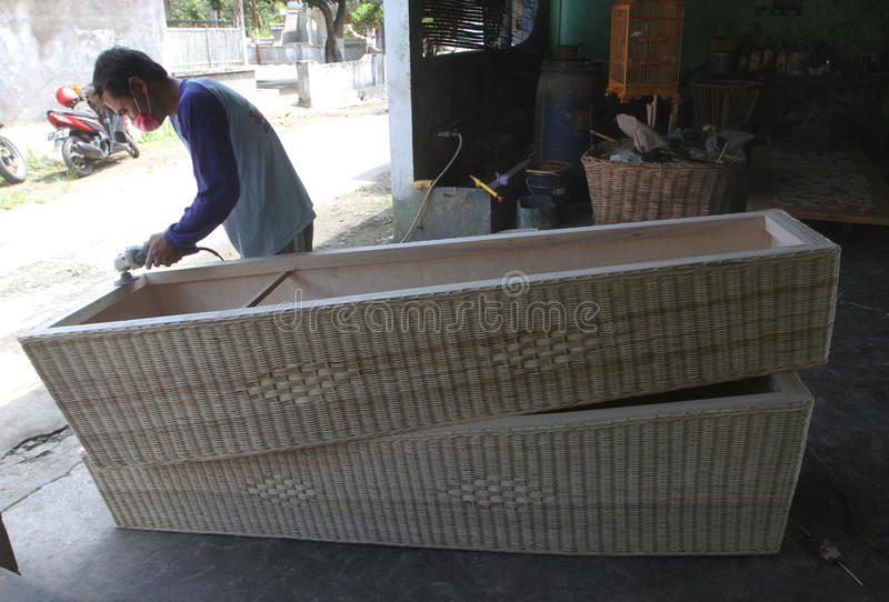 Coffins. Craftsmen were making coffins of rattan in a village in Sukoharjo, Central Java, Indonesia royalty free stock images