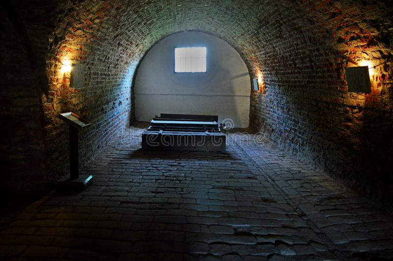 Coffins and tunnels at the Ceremonial Hall and Central Morgue of the former Jewish Ghetto at Terezin Czech Republic. Coffins and tunnels at the Ceremonial Hall stock photos