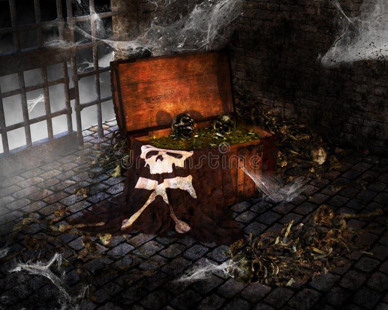 Coffre au trésor de pirate de Halloween, butin photo stock