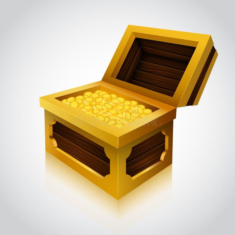 Coffre au trésor en bois sur le fond blanc illustration libre de droits