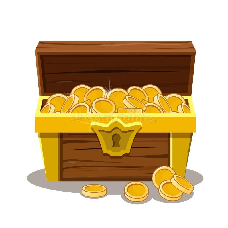Coffre au trésor et pièce de monnaie en bois illustration libre de droits