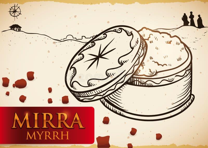Coffre avec de la myrrhe dans une scène de Bethlehem pour l'épiphanie, illustration de vecteur illustration libre de droits