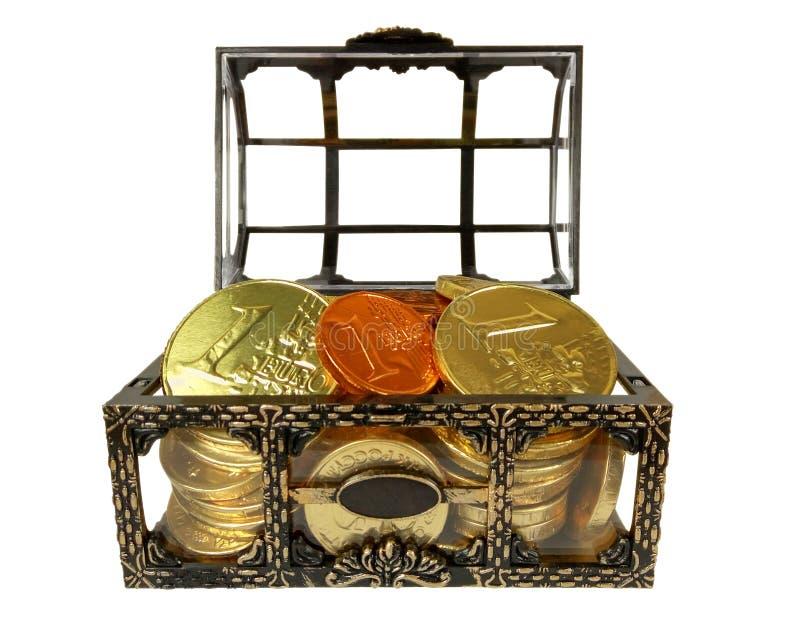 Coffre avec des pièces de monnaie de chocolat photo stock
