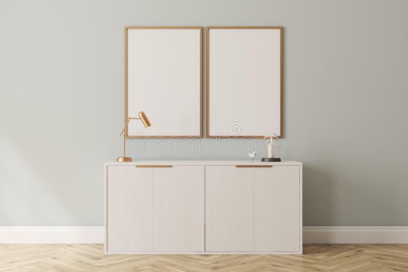 Coffre blanc des tiroirs et des affiches photo stock