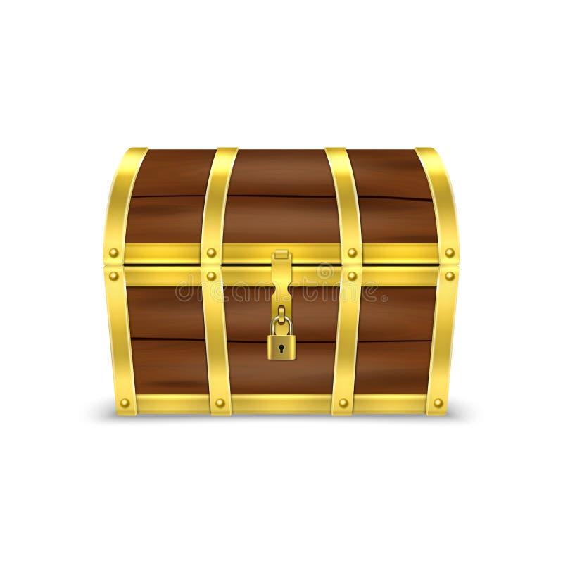 Coffre brun en bois de douaire de pirate de rétro trésor antique fermé réaliste de cru du vecteur 3d vieux avec les rayures d illustration de vecteur