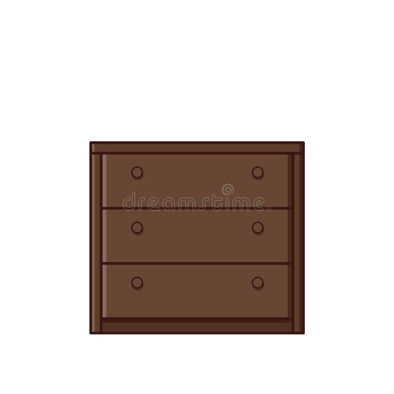 Coffre d'icône de tiroirs dans la conception plate Illustration de vecteur rétro illustration de vecteur