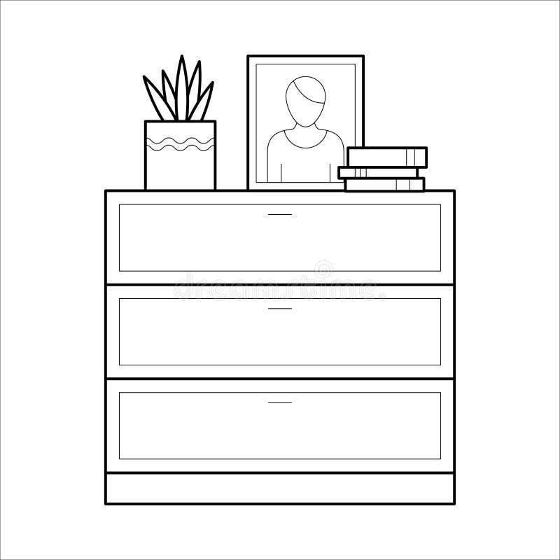 Coffre d'icône plate de vecteur de tiroirs illustration stock