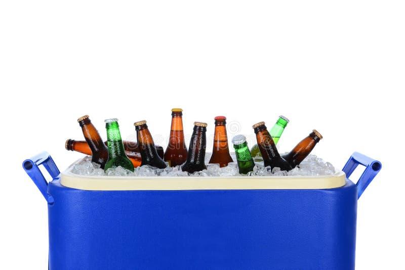 Coffre de glace complètement de bouteilles à bière photos stock