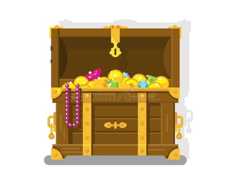 Coffre de trésor avec des pièces d'or illustration libre de droits