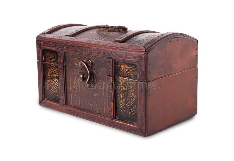 Coffre de trésor en bois fermé image stock
