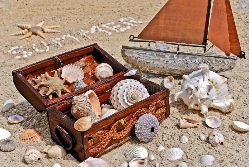 Coffre de trésor et bateau à voiles photographie stock