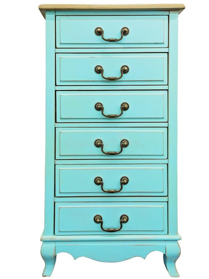 Coffre de turquoise de vintage des tiroirs en bois d'isolement sur le fond blanc Coffre de 6 six tiroirs photographie stock