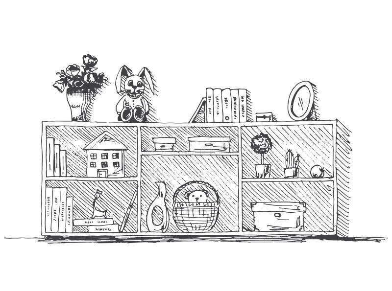 Coffre des tiroirs avec des étagères avec des choses du ` s d'enfants Illustration de vecteur dans le style de croquis illustration libre de droits
