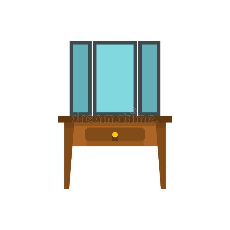 Coffre des tiroirs avec l'icône de miroir, style plat illustration de vecteur