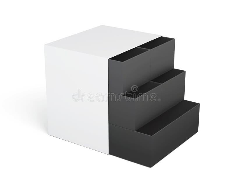 coffre des tiroirs Blanc-noir d'isolement sur un fond blanc 3d illustration de vecteur