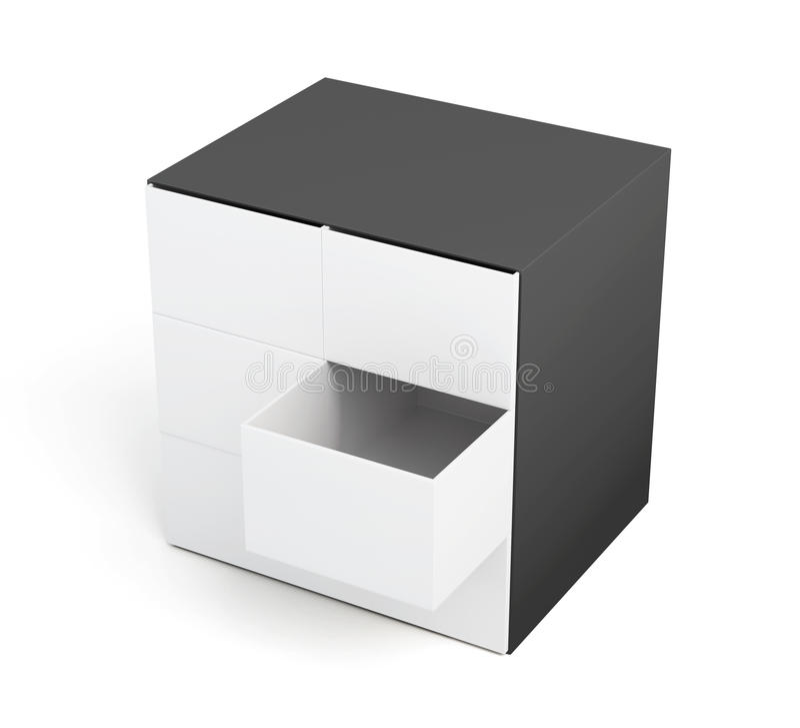 Coffre des tiroirs d'isolement sur un fond blanc rendu 3d illustration de vecteur