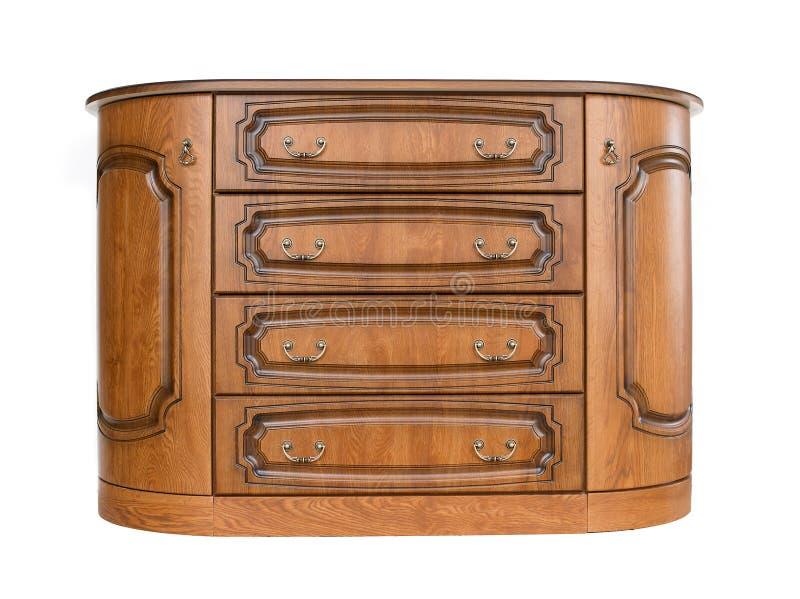 Coffre des tiroirs en bois antique d'isolement sur le fond blanc photos stock