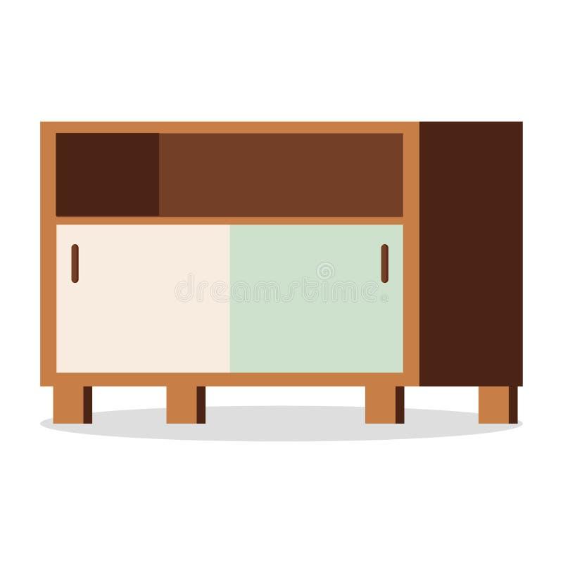 Coffre des tiroirs en bois avec des portes, étagère - icône de meubles d'isolement sur le fond blanc illustration libre de droits