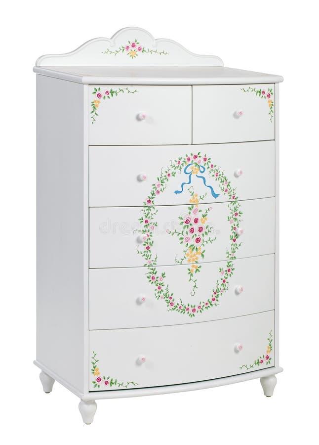Coffre des tiroirs en bois blanc, avec le chemin photos libres de droits