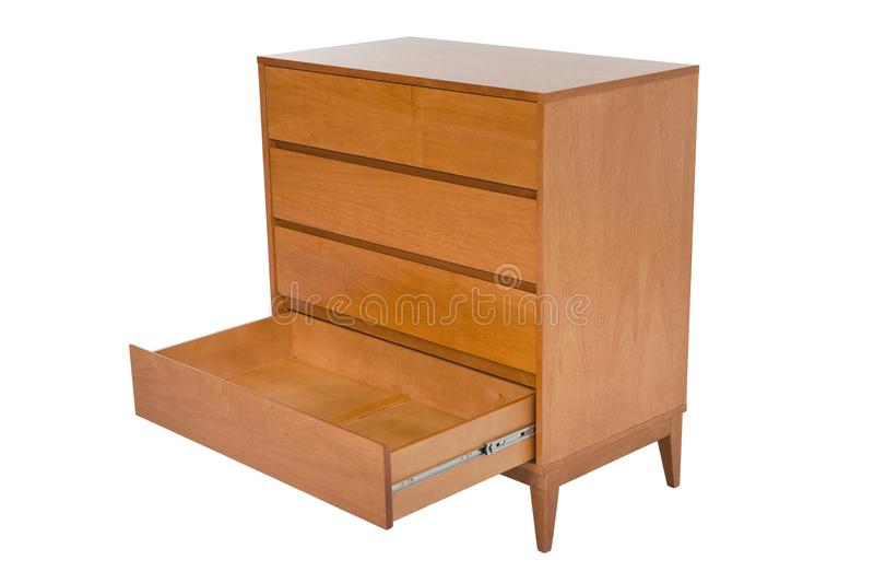 Coffre des tiroirs en bois d'isolement sur le blanc images libres de droits