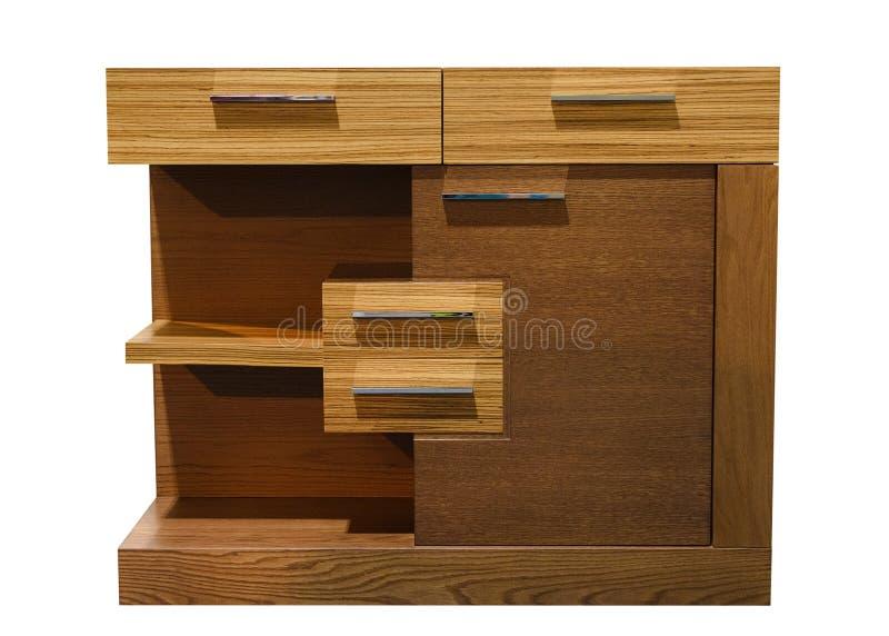 Coffre des tiroirs en bois d'isolement sur le fond blanc photo libre de droits