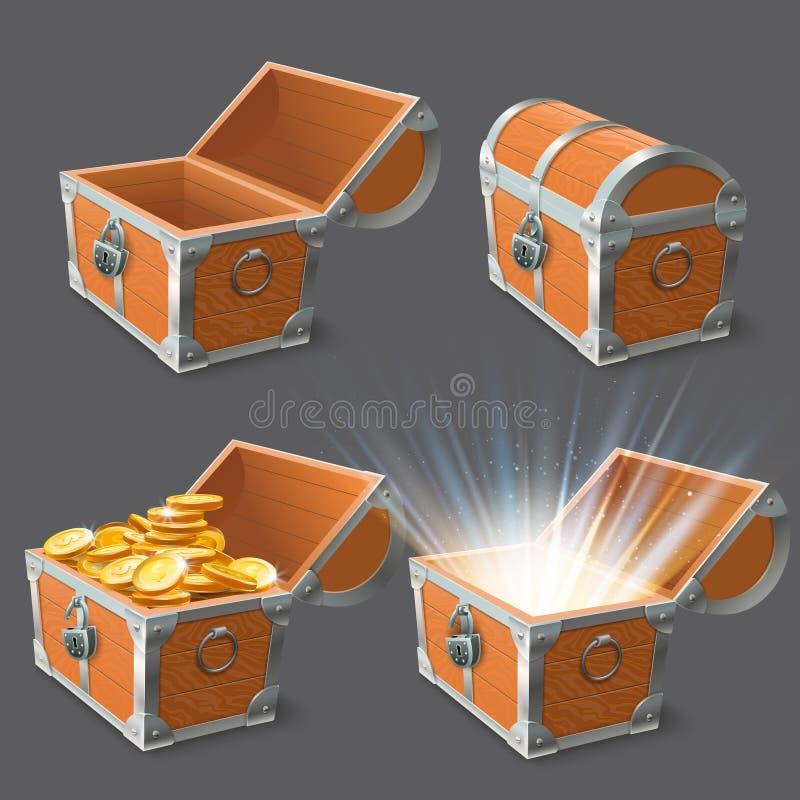 Coffre en bois de trésor de coffre, vieille caisse brillante d'or et fermer à clef l'ensemble vide fermé ou ouvert d'illustration illustration de vecteur