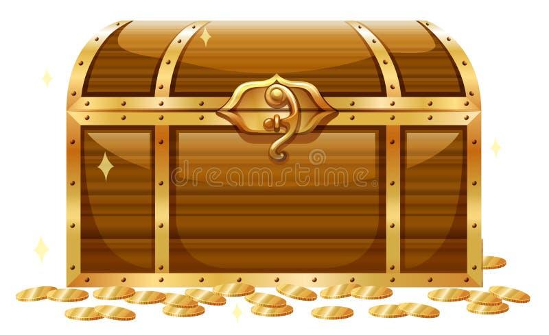 Coffre en bois et pièces de monnaie d'or illustration libre de droits