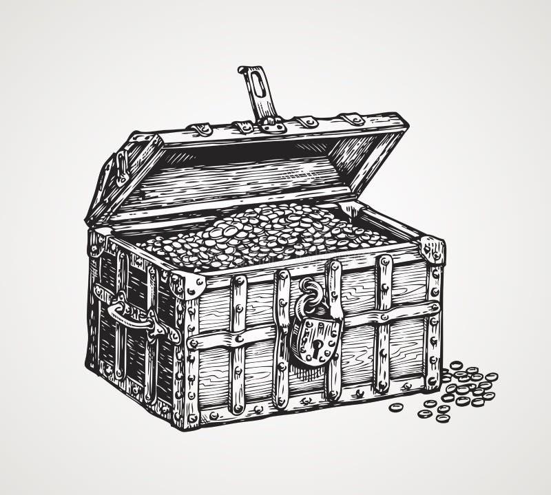 Coffre en bois ouvert avec des trésors Illustration de vecteur de croquis de vintage illustration libre de droits