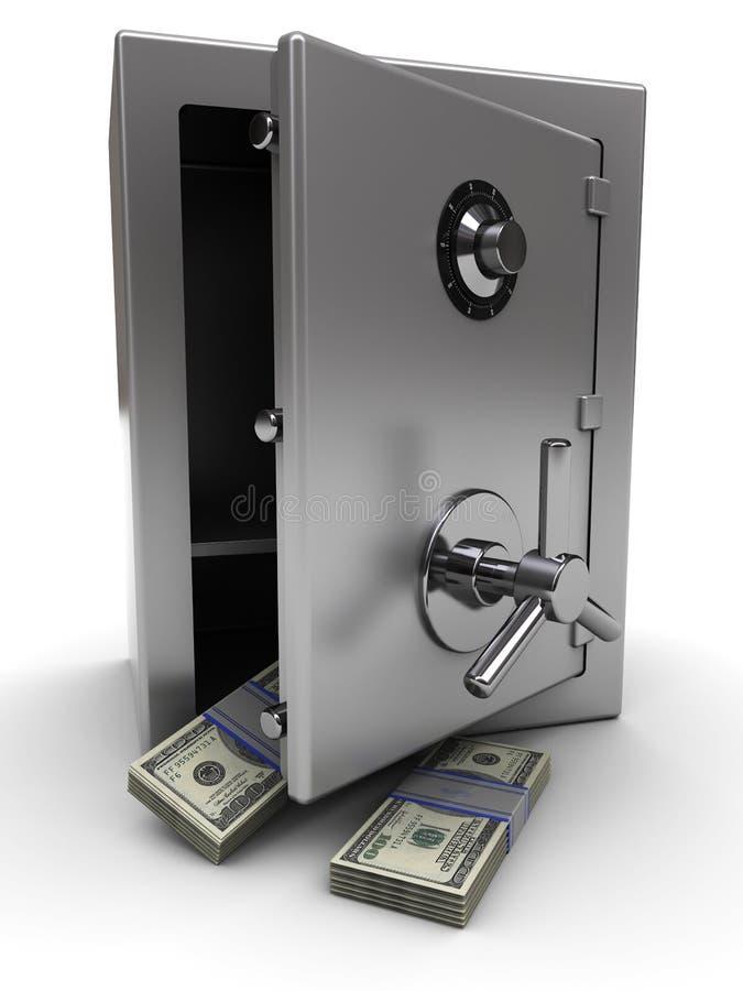 Coffre-fort avec de l'argent illustration de vecteur