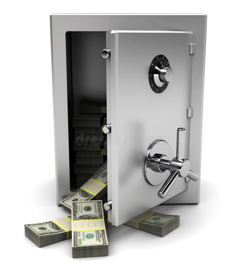 Coffre-fort avec de l'argent illustration stock