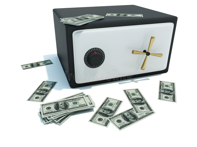Coffre-fort avec de l'argent illustration libre de droits