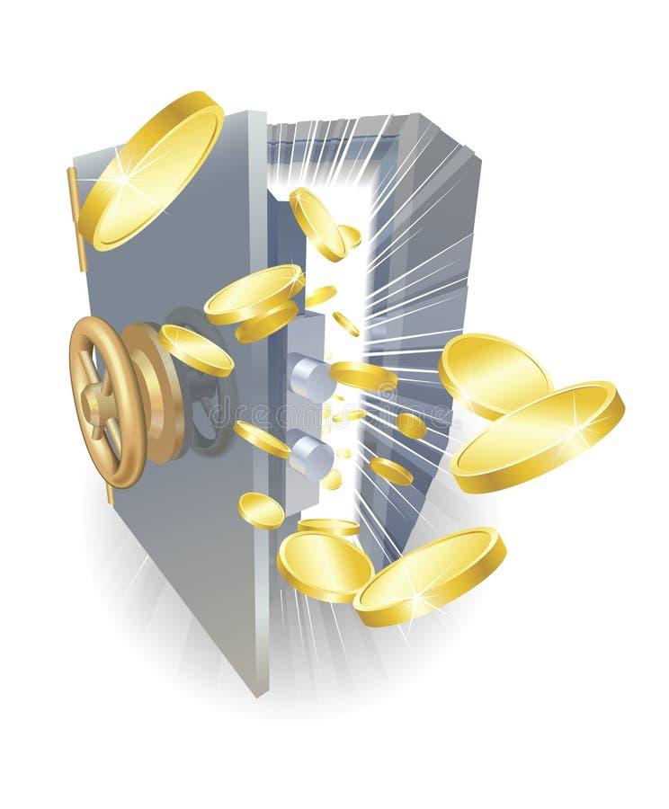 Coffre-fort avec des pièces d'or volant à l'extérieur illustration stock