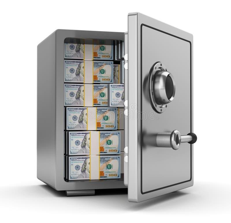 Coffre-fort avec l'argent illustration stock
